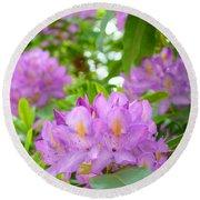 Green Rhododendron Floral Garden Pink Purple Art Prints Round Beach Towel