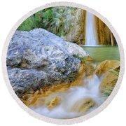 Green River Waterfalls Round Beach Towel