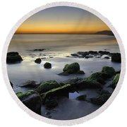 Green Rocks At Sunset Round Beach Towel