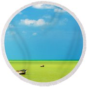 Green Sea And Boats Round Beach Towel