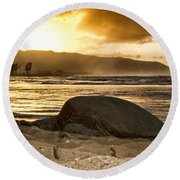 Green Sea Turtle At Sunset V2 Round Beach Towel