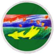 Green Sean Turtles Round Beach Towel