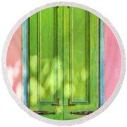 Green Shutters Pink Stucco Wall 2 Round Beach Towel