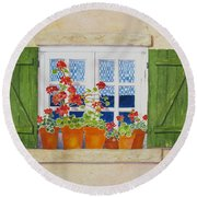 Green Shutters With Red Flowers Round Beach Towel