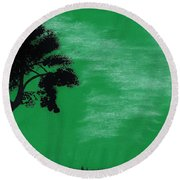 Green Sky Sunset Round Beach Towel
