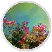 Green Sky With Pink Bougainvillea - Square Round Beach Towel