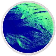 Green Snow Dune Abstract Round Beach Towel