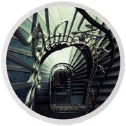 Green Spiral Staircase Round Beach Towel