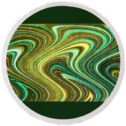 Green Swirls Mind Bend Round Beach Towel
