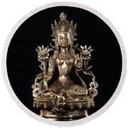 Green Tara Buddhist Goddess Statue Round Beach Towel