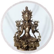 Green Tara Goddess Statue Round Beach Towel