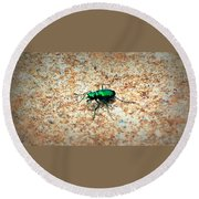 Green Tiger Beetle Round Beach Towel