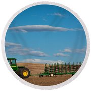 Green Tractor Round Beach Towel