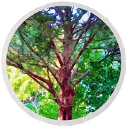 Green Tree Round Beach Towel
