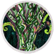 Green Tree With Pink Watercolor Round Beach Towel