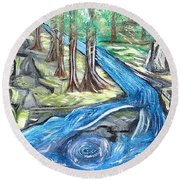 Green Trees With Rocks And River Round Beach Towel