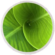 Green Twin Leaves Round Beach Towel