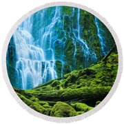 Green Waterfall Round Beach Towel