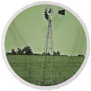 Green Windmill Round Beach Towel