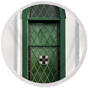 Green Window Round Beach Towel