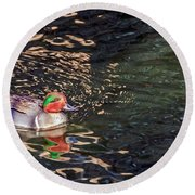 Green-winged Teal Round Beach Towel