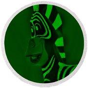 Green Zebra Round Beach Towel