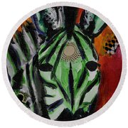 Green Zebra Stripes  Round Beach Towel