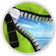 Green Zipper Round Beach Towel