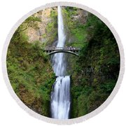 Greenery Of Multnomah Falls Round Beach Towel