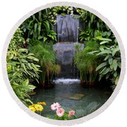 Greenhouse Garden Waterfall Round Beach Towel