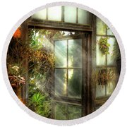 Greenhouse - The Door To Paradise Round Beach Towel by Mike Savad