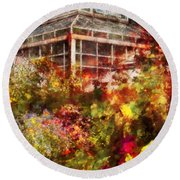Greenhouse - The Greenhouse And The Garden Round Beach Towel by Mike Savad
