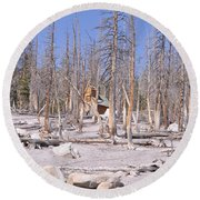 Lonely Cabin Round Beach Towel