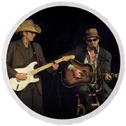 Greg Brown And Bo Ramsey In Concert Round Beach Towel