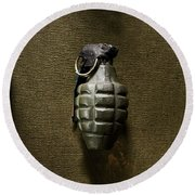 Grenade Round Beach Towel by Margie Hurwich