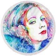 Greta Garbo - Colored Pens Portrait Round Beach Towel