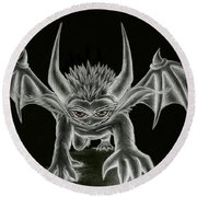 Grevil Statue Round Beach Towel