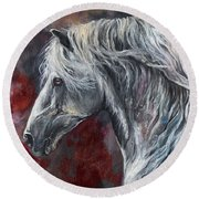 Grey Andalusian Horse Oil Painting 2013 11 26 Round Beach Towel