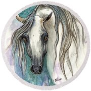Grey Arabian Horse 2013 11 26 Round Beach Towel