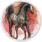 Grey Arabian Horse 2014 01 12 Round Beach Towel