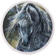 Grey Arabian Horse Oil Painting 2 Round Beach Towel