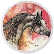 Grey Arabian Horse On Red Background 2013 11 17  Round Beach Towel