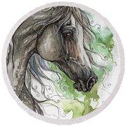 Grey Arabian Horse Watercolor Painting 1 Round Beach Towel