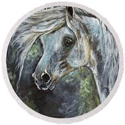 Grey Pony With Long Mane Oil Painting Round Beach Towel