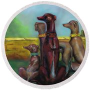 Greyhound Figurines Round Beach Towel