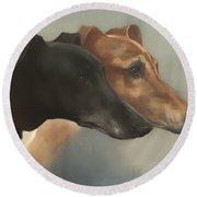 Greyhounds  Round Beach Towel