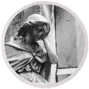 Grieving Statue Round Beach Towel