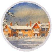 Griffin House School - Snowy Day Round Beach Towel