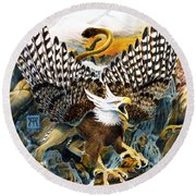 Griffin In Waterfall Round Beach Towel
