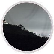 Griffith Park Observatory And Los Angeles Skyline At Night Round Beach Towel